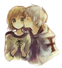 OMG   ok  So when i was younger, i would collect romantic manga photos right (it was a phrase i was going through) any way   I just got into the hetalia fandom right.   Taking a break and looking through my old photos.    AND I COME ACROSS THIS!!!!!   I mean, IT HAS TA BE APH PRUSSIA AND APH HINGRY RIGHT   COME ON   IT LOOKS JUST LIKE THEM  PRUHUN