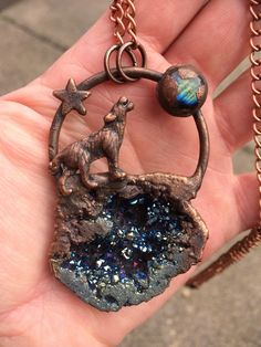 Excited to share this item from my shop: Howl at the Moon Titanium Druzy & Labradorite Wolf Moon Pendant Raw Stone Jewelry, Copper Jewelry, Crystal Jewelry, Wolf Jewelry, Metal Forming, Howl At The Moon, Wolf Moon, Crystal Collection, Copper Metal
