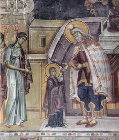 Presentazione della Vergine al tempio. Chiesa del Re. 1315. Dettaglio Orthodox Icons, Dubrovnik, Byzantine, Fresco, Painting, Art, Western World, Art Background, Fresh