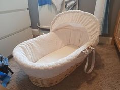Claire de lune wicker moses basket £35 with rocking stand Come with mattress, sheets and a matching blanket Excellent condition Pet/smoke free home Covers are all machine washable Pick up only from levenshulme or northern moor #rangloo, #bar, #accessories