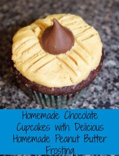 Oh my gosh! So good! Anyone a fan of the peanut butter blossom cookies? these chocolate cupcakes with peanut butter frosting is the amazing cupcake version of the cookies!!