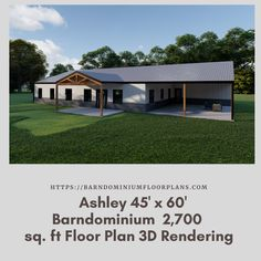 $595. Ashley 45' x 60' - 4 Bedroom - 2 Bathroom (2,700 sq. ft Living) We sell semi-custom Barndominium floor plans and provide helpful tips to design and build your home whether it is DIY or you are paying a company. #architecture #barndominiums #home #modernbarn #barnhomefloorplans #beautifulbarn #homefloorplan #barnhomedesign #housedesign #barndominiumfloorplans #floorplan #dreambarn #barnhouse #barndominiumliving #interiordesign #barndominiumdesign #shop #exteriordesign