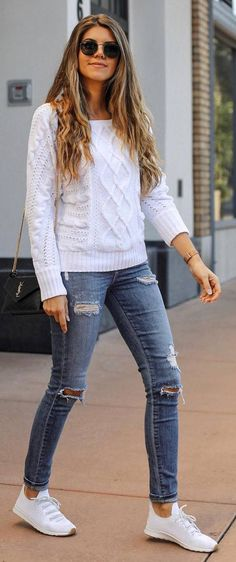 #fall #outfits white sweater jeans