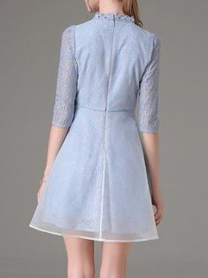 Paneled 3/4 Sleeve Lace Organza Vintage Mini Dress