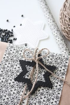 Black and White Star Gift Wrap - I used to do this when EJ was younger - I wished I'd kept the Hama beads! Wrapping Gift, Christmas Gift Wrapping, Wrapping Ideas, Noel Christmas, White Christmas, Christmas Crafts, Christmas Decorations, Christmas Ideas, Hama Beads