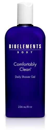 Bioelements Comfortably Clean Daily Showering Gel, 8-Ounce by Bioelements. $23.80. Rinses off quickly and completely. Contains Bioelements' own blend of 100% natural essential oils. Ues in tub as a refreshing spa bath. Keeps skin feeling hydrated and smooth. Gentle, soap-free cleanser produces a flash foam that leaves every inch of the body squeaky-clean. Contains Bioelements own blend of 100% natural essential oils, plus exfoliating citric acid. Non-drying foam...