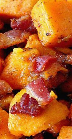 Maple Bacon Sweet Potatoes Bacon Recipes, Side Dish Recipes, Chilli Recipes, Cat Recipes, Side Dishes, Potato Sides, Sweet Potato Side Dish, Vegetable Sides, Vegetable Recipes