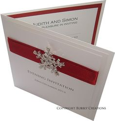 Personalised Winter Snowflake Wedding Invitation with Diamante Embellishment and Satin ribbon