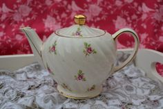 Sadler Teapot for One Person, Fluted Swirl Shaped, Vintage English Pottery, Cream with Pink Roses and Gilt by ImagineHowCharming on Etsy