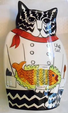 """Cats by Nina Lyman Chef Cat Hand Made Hand Painted Collectable Vase 10"""" Tall"""