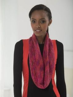 Sunset Infinity Scarf (Knit) - Lion Brand Yarn - 163 yards of each of two colors