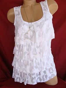 NWT CUTE WHITE LEOPARD BURNOUT SLEEVELESS RUFFLED TIERED TANK TOP SHIRT BLOUSE-absolutely love this only in black
