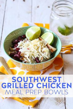 Make these easy Southwest Grilled Chicken Meal Prep Bowls on Saturday or Sunday and have delicious lunches throughout the week! Packed with protein and good carbs, they'll keep you full all afternoon. #OurBestBites #MealPrep #ProteinBowl #HealthyLunch