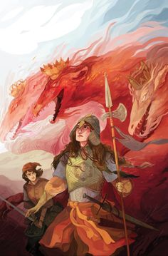 """Hannah Christenson - I did a cover for Jim Henson's The Storyteller: Dragons. You can read about it here if you'd like! Mine is for issue number 3 of 4, number 1 comes out in December! Each story in the series is inspired by existing folk tales, the article says this about mine: """"…issue #3 offers Hannah Christenson's gender-switched retelling of a Russian folktale about a knight and squire fighting the three-headed dragon Tugarin."""""""