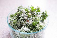 Tuscan Kale Salad with Lemon-Srirachi Greek Yogurt Dressing