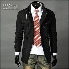 Wholesale trench coat Mens Long Winter Coats Mens Black Mens Fashion Mens Coats MS140, Free shipping, $48.38/Piece | DHgate