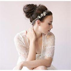 Capacete+Flores+Casamento+Pérola/Prata+de+Lei/Strass/Crostal+Mulheres+Casamento+–+USD+$+59.99
