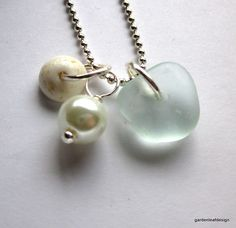 Puka Shell Seaglass Jewelry by NaturesGallery on Etsy, $16.00