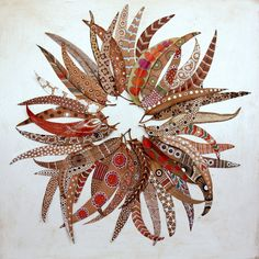 bicocacolors: bicocacolors shop paintings on leaves Painted Branches, Painted Leaves, Land Art, Paper Heart Garland, Art Sculpture, Leaf Crafts, Fabric Animals, How To Make Paint, Painted Paper