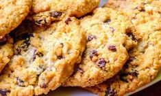 Chewy Oatmeal Cookies with Dried Cherries and Chocolate Chips Recipe Best Oatmeal Raisin Cookies, Oatmeal Coconut Cookies, Cherry Cookies, Chocolate Chip Oatmeal, Oatmeal Cookies, Chocolate Chips, Chip Cookies, Oat Cookie Recipe, Breakfast Cookie Recipe