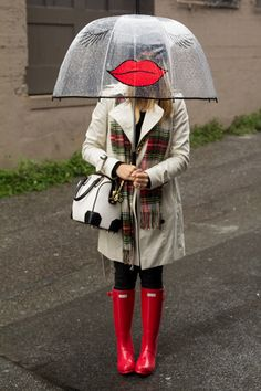 red Hunters, plaid scarf and funky umbrella...