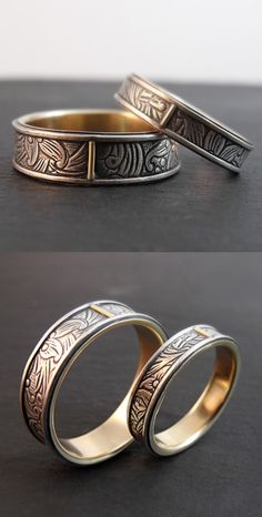 Sunflower wedding band set. Sterling silver inlay rings with 14k yellow gold lining and accent tabs, handmade by Chuck Domitrovich of Down to the Wire Designs.