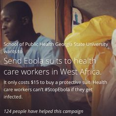 If you are wondering how you can help in the fight against Ebola, Map International and Georgia State University have joined together to send PPE to health workers in W. Africa. Please consider joining their fight to #StopEbola. Every little bit helps. Causes.com/stopebola or map.org/Ebola #stopEbola2014