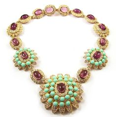 KJL Kenneth J Lane Simulated Amethyst, Turquoise, & Diamond Necklace
