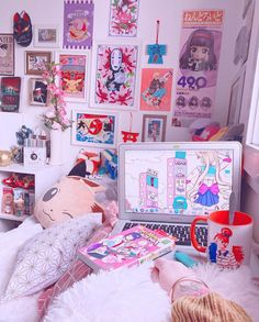Cute Room Ideas, Cute Room Decor, Gaming Room Setup, Gaming Desk, Computer Desks, Desk Setup, Room Ideas Bedroom, Bedroom Decor, Kawaii Bedroom