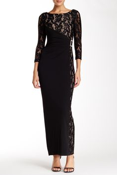 Tahari | 3/4 Sleeve Lace Combo Gown | Nordstrom Rack  Sponsored by Nordstrom Rack.