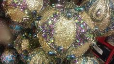 DIY ornament inspiration - gold cord, gold glitter, multicolor beads and sequins