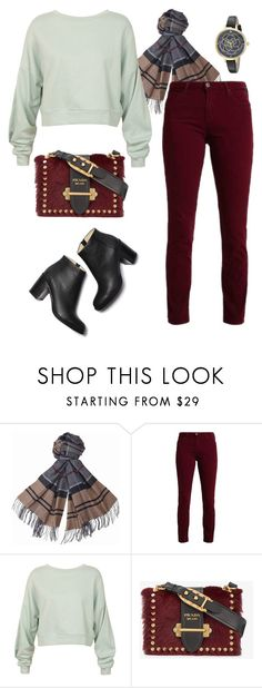 """Minty-Cherry"" by afifahafifa on Polyvore featuring Barbour, Sans Souci, Prada and Kate Spade"