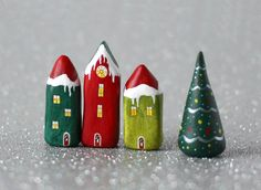 https://flic.kr/p/hWfvaB | Little Christmas village - red and green | little clay houses made from air drying clay and painted with acrylics