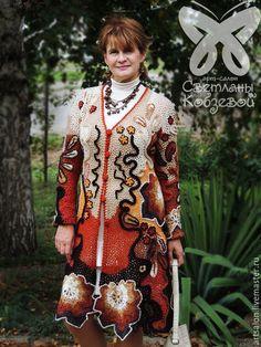 """Кофты и свитера ручной работы. Заказать Кардиган """"Игривая осень"""". Арт-салон Светланы Кобзевой. Ярмарка Мастеров. Вязанное пальто Crochet Coat, Crochet Jacket, Point Lace, Freeform Crochet, Irish Lace, Free Crochet, Dress Skirt, Gowns, Pullover"""