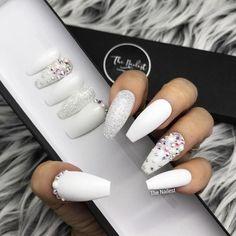 Acrylic nails, diamond nails, black nails, white nails with glitter, pearl nail White Nail Designs, Acrylic Nail Designs, Nail Art Designs, White Glitter Nails, White Coffin Nails, Black Nails, White And Silver Nails, Sexy Nails, Pink Nail