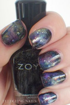 Fledgling Nails: Nail Art: FingerFood's Theme Buffet #20 - Galaxy Nails