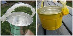 Empêcher la peinture de s'effriter / Passez une éponge vinaigre blanc sur un seau pour que la peinture adhère mieux / Ce truc fonctionne aussi pour le béton.