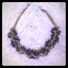 Statement Necklace Gold and grey statement necklace with interwoven chains for a little bit of edge 🤘🏼 Jewelry Necklaces