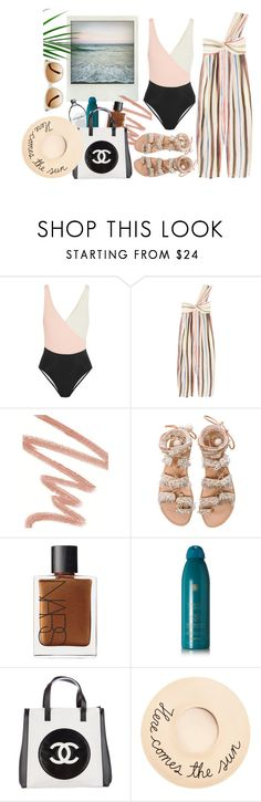 """""""Little Darling..."""" by harperleo ❤ liked on Polyvore featuring Solid & Striped, Marysia Swim, Polaroid, Chantecaille, Elina Linardaki, NARS Cosmetics, Soleil Toujours, Chanel, Eugenia Kim and Tom Ford"""
