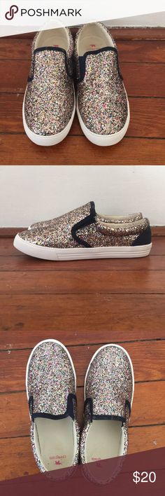 Kids Jcrew Slides Multi colored glitter. Only worn once. I wear a women's size 7 and they fit me even though they are a kids size 5. JCrew Shoes Flats & Loafers