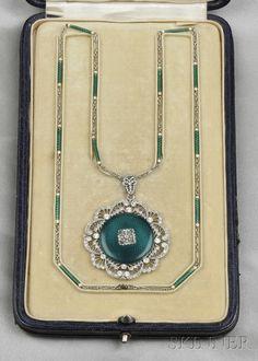 Edwardian Platinum, Enamel, and Diamond Pendant Watch, Longines