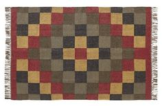 Add color, dimension, and warmth to your home with our Homestead Rectangle Kilim Rug 4x6'! https://www.primitivestarquiltshop.com/products/homestead-rectangle-kilim-rug-4x6 #primitivecountrytrugs