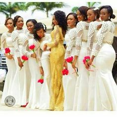 Beautiful African bride in a gorgeous gold wedding dress with bridesmaids in white.talk about breaking the mold and doing something different. White Bridesmaid Dresses, Brides And Bridesmaids, African Wedding Dress, African Dress, African Wear, Bridal Musings, Wedding Attire, Wedding Gowns, Wedding Venues