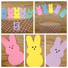 I have been obsessed with thinking of a marshmallow peep craft for kindergarten. I really think peeps are so cute, and I haven& seen anyth. Kids Crafts, Easter Crafts, Easter Ideas, Easter Activities, Spring Activities, Math Activities, Math Games, Kindergarten Crafts, Preschool Crafts