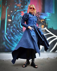 Long Denim Coat Wool Knitted Jacket Minimalist Button Down Jean Coat Elegant Maxi Jacket with Puffy Sleeves Wool and Jean Shirt Jacket Denim Maxi Dress, Jeans Dress, Only Fashion, Womens Fashion, Urban Fashion, Casual Outfits, Fashion Outfits, Fashion Clothes, Fashion Accessories