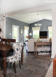 Charcoal gray sun room. Beautiful blueish gray tone.