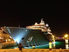 Super yacht! almost as big as a cruiseship — at Ibiza , Islas Baleares , Spain.