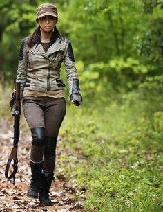 Love everything Rosita wears, but particularly digging the leather patches and moto jacket.