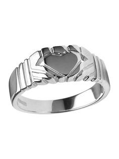 14kt white-gold contemporary men's Claddagh ring | Paul O'Neill for Boru Jewelry