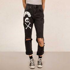Salvage Mom dames spijkerbroek jeans met hoge taille zwart